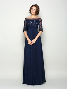 A-Line/Princess Off-the-Shoulder Beading Sleeves Long Chiffon Mother of the Bride Dresses - Hebeos Online Mother Of The Bride Dresses Long, Mothers Dresses, Mother Bride, Wedding Party Dresses, Wedding Attire, Casual Chique, Mob Dresses, Dresses Online, Beaded Chiffon