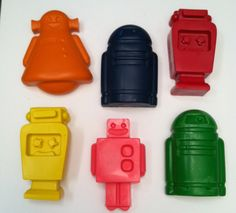 I used these for a favor for out robot party , the boys love them. Krazee Krayons - 6 jumbo robot crayons. $6.99, via Etsy.
