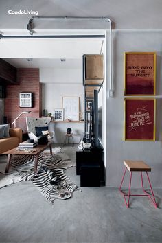 An Exclusive Tour of Mike Carandang's Eclectic-Industrial Loft by Space Encounters - CondoLiving Industrial Loft, Man Cave, Tours, Space, Interior, Floor Space, Industrial Loft Apartment, Indoor, Interiors