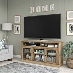 Darby Home Co Alpharetta TV Stand for TVs up to with Fireplace Included Color: Natural, Fireplace Included: No Living Room Tv, Apartment Living, Home And Living, How Decorate Living Room, Living Room Without Fireplace, Tv On Wall Ideas Living Room, Decor Around Tv, Over Tv Decor, Decorating Around Tv