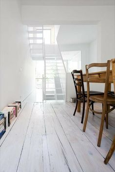 white modern space / old wooden furniture