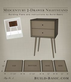 Build a DIY Midcentury 2 Drawer Nightstand – Building Plans by Build Basic www.b… - diy furniture plans Outdoor Furniture Plans, Diy Furniture Plans Wood Projects, Repurposed Furniture, Rustic Furniture, Nightstand Plans, 2 Drawer Nightstand, Nightstands, Diy Holz, Arts And Crafts