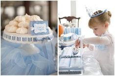 a beautiful Cinderella party - blue and white colors