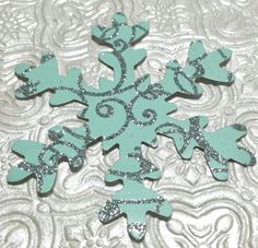 "X Large 3"" mint and silver glitter snowflakes confetti die cuts birthday party favor table or wall decor invitations inserts scatter Christmas ornaments winter wonderland wedding baby shower bridal engagement anniversary retirement Frozen themed party decor"