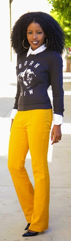 Crew Neck + White Button-up + High Waist Trousers by Style Pantry