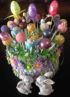 Easter Basket:  Coconut Cream Pie, Pink Lemonade and Rich Chocolate.  www.CakePopsByLilly.com www.Facebook.com/CakePopsByLilly