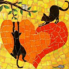 Curious cats Mosaic by Daleen Edgar