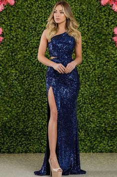 Buy Fleepmart One Shoulder Silver Navy Stretchy Party Dress Sequin Hollow Out Split Leg Floor Length Bydocon Long Dresses at fleepmart.com! Free shipping to 185 countries. 45 days money back guarantee.