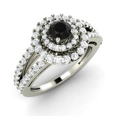 1 31 Ct Round Cut Double Halo Prong Set Diamond Engagement Ring Black G H SI…