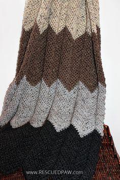 Neutral Chevron Crochet Blanket Pattern From Rescued Paw