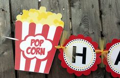 Movie Party Banner Movie Party Decoration Popcorn Banner