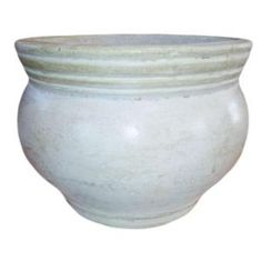 Ravenna Pottery, 21 in. Round White Clay Bean Pot, RP-15-39 at The Home Depot   this light color ceramic pot may be better for a west facing patio