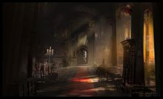 ArtStation - Hallway of The Mountain King, Zachary McLean Dark Hallway, Throne Room, Environment Concept, Fantasy Inspiration, Fantasy Landscape, Comic, Fantastic Art, Interior And Exterior, Concept Art