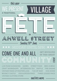 Amwell street fete tomorrow