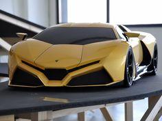 Lamborghini Concept. Me gusta este coche por la forma que tiene y el color con los cristales negros