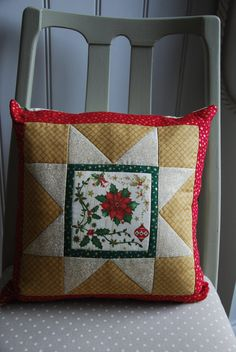 Holly & Poinsettia Cushion Christmas Pillow by TheQuiltersQuarters