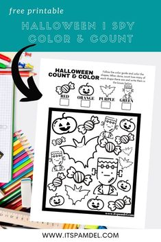 Free Printable: Halloween I Spy Count and Color Activity Page for Kids