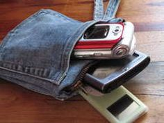 Denim pockets for phone etc with zipper, can add wrist strap.