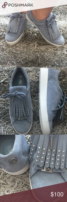 MICHAEL Kors Keaton Kiltie Fringe lace up sneakers Michael Kors Keaton Kiltie lace up suede sneakers in •dusty blue •new without tags •size 10 •fringe is removable MICHAEL Michael Kors Shoes Sneakers