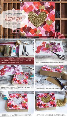 #DIY GLITTER HEART ART #ValentinesDay  super cute!!