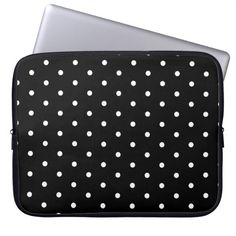 Simple Black and White Polka Dot Basic Pattern Laptop Sleeve