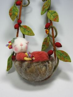 "Needle Felted Mouse ""Jane, of the forest"" 3"" baby mouse By Barby Anderson by feltedmice, via Flickr. Are you kidding me, this is the cutest ever!!!"