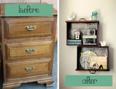 Unique Drawer-Shelves  (Keep the nightstand, and hang the 'shelves' above it. Use a three drawer nightstand so there's still one drawer left at the top, and open space below.)