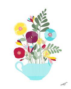 Art floral print art Floral  fraîchement coupé  art par PragyaK