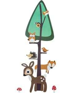 A height chart wall sticker with a forest design. Woodland Theme, Woodland Nursery, Forest Design, Height Chart, Kids Prints, Nursery Design, Forest Animals, Nursery Themes, Cool Baby Stuff