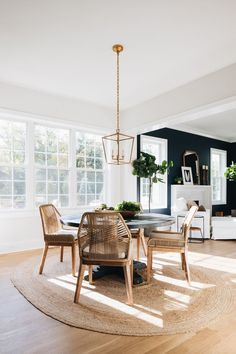 breakfast dining area with round table, four chairs, lantern shape light pendant, and wall to wall windows Kitchen Interior, Room Interior, Country Wall Mirrors, Decorating Your Home, Diy Home Decor, Modern Style Homes, Visual Comfort, Classic House, Living Room Modern