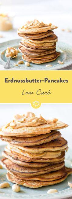 Erdnussbutter auf Marmelade und Nutella. Oder auf einem amerikanischen Pancake. Noch besser: im Pancake. Besonders lecker und besonders low carb. (Sweet Recipes Healthy)