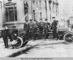 Monroe Louisiana firemen with ladder truck in front of old City Hall circa 1920