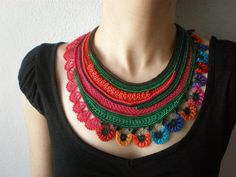 This is a crochet necklace made from quality cotton and acrylic fibers, seed and delica beads, with freeform beaded crochet techniques.