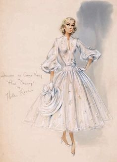 Helen Rose costume sketch of Grace Kelly in High Society Vintage Fashion Sketches, Fashion Illustration Sketches, Fashion Design Sketches, Vintage Dress Patterns, Vintage Dresses, Vintage Outfits, Fashion History, Fashion Art, Paper Fashion