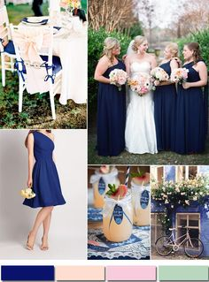 royal blue and peach inspired wedding color ideas and pretty bridesmaid dresses