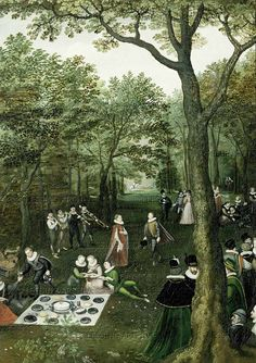 Lucas van Valckenborch - Spring Landscape (May) - 1587- detail - picnic. Various courtly fashions, including a woman wearing a short cloak.