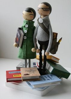 bookspaperscissors: Lace and Rubbish presents a customized Love in the Library wedding cake topper made upon request