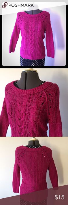 """ATLoft Fuchsia Cable Knit Boatneck Sweater ATLoft Fuchsia Cable Knit Boatneck Sweater. In great condition. Size M measures: 19"""" across chest, 21"""" sleeve from shoulder, 24"""" long. 53% cotton, 28% wool, 19"""" acrylic. Sleeves are half cable knit, half close weave which creates a more interesting look. 117/100/112716 LOFT Sweaters Crew & Scoop Necks"""