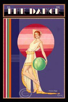 Whimsical Art Deco Dance Cover The Dance Magazine Deco Beauty Florence Rogge Choreographer and Dancer 1930 Giclee Fine Art Print Art Deco Illustration, Illustrations, Art Deco Posters, Vintage Posters, Vintage Art, Vintage Dance, Art Deco Stil, Art Deco Era, Dance Magazine