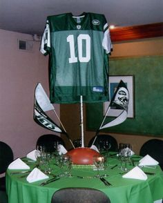 Football Jersey Centerpieces, Bar Mitzvah Party by Balloon Bouquets of Long Island - mazelmoments.com