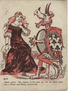 "A. L. Bowley, Beauty and the Beast, in ""FAIRY-TALE PICTURES"", Raphael Tuck & Sons Ltd."