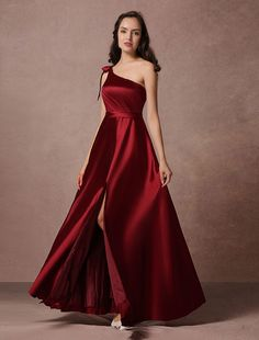 Satin Evening Dress Burgundy One Shoulder A Line Floor Length Split Party Dress Pageant Dresses, Quinceanera Dresses, Homecoming Dresses, Cheap Black Dress, Prom Dreses, Cheap Party Dresses, Evening Dresses, Formal Dresses, Occasion Dresses
