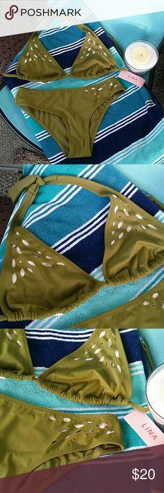 ▪ Lina ▪  Bikini Set Olive green cut out stencil halter top with snap closure in back and ties around the neck.. Matching full coverage bikini bottom. Lina Swim Bikinis