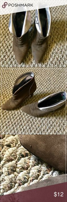 """fornarina brown suede booties Some wear and tear on the heels, some on the points, some on the front. All are in pictures. These are comfy and go with everything! 3.25"""" heels Shoes Ankle Boots & Booties"""