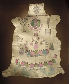 Chiricahua Apache Gutálsi'á' (hide painting) representing the Na'ii'es, or puberty ceremony, made by Naiche, ca. 1900.