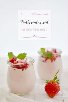 You can serve your loved ones a super quick strawberry dessert for dessert with little effort. All you need is curd cheese and a few ingredients and o. Desserts In A Glass, Desserts For A Crowd, Party Desserts, Food For A Crowd, Strawberry Dessert Recipes, Summer Dessert Recipes, Snack Recipes, Cooking Recipes, Dessert Simple