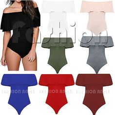 Women Ladies Bardot Frill Off Shoulder Bodysuit Stretch Party Leotard Top 8-14