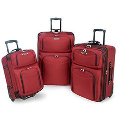 El Dorado 3 Piece Rolling Luggage Set Color Red *** Learn more by visiting the image link. North Salt Lake, Salt Lake City, Travel Accessories, Wedding Accessories, Stripling Warriors, Wedding Loans, Packing Cubes, Luggage Sets, Travel Essentials