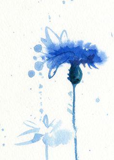 Aquarell Blume Blau Drucken Kornblume von AnellHappyWatercolor