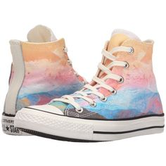 Converse Chuck Taylor All Star Sunset Hi Women's Lace up casual Shoes ($60) ❤ liked on Polyvore featuring shoes, sneakers, converse, metallic sneakers, star sneakers, converse trainers, lacing sneakers and lace up shoes